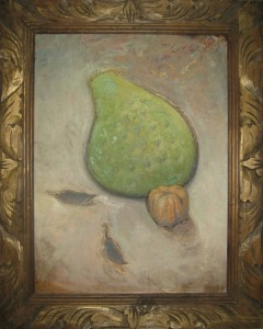 Still life painting of a prickley pear paddle and one of those decorative small pumpkins