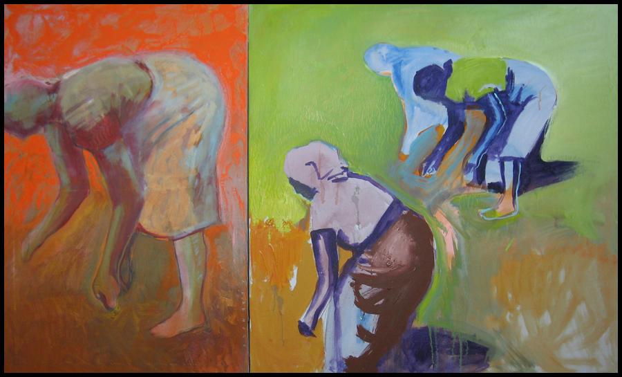 Worker Women Diptych - Green & Orange