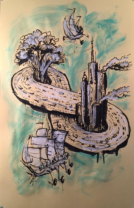 """""""Infinite Loop"""" mixed on paper, Jeff Del Nero 22.5x35in."""